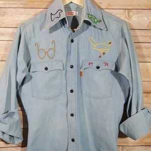 Vintage 70's Levi's Embroidered Shirt